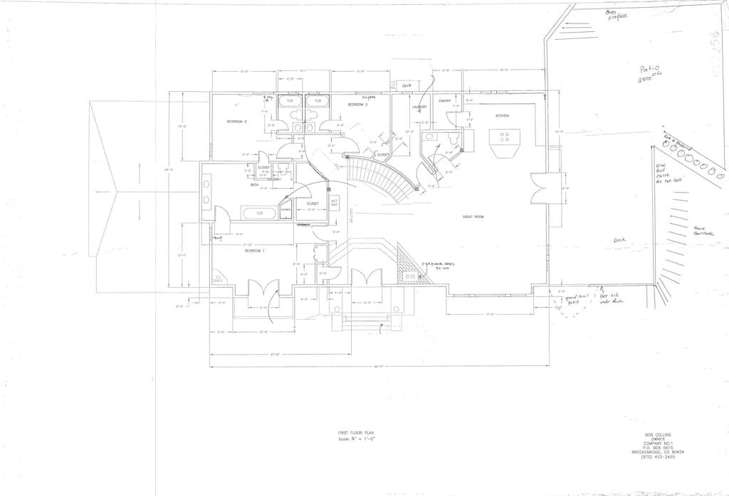 Main Level Floor Plan - Main Level Floor Plan with 3 Master Bedroom Suites, Laundry, Powder, Great Room, Dining Room, Kitchen, Exterior Deck and Patio