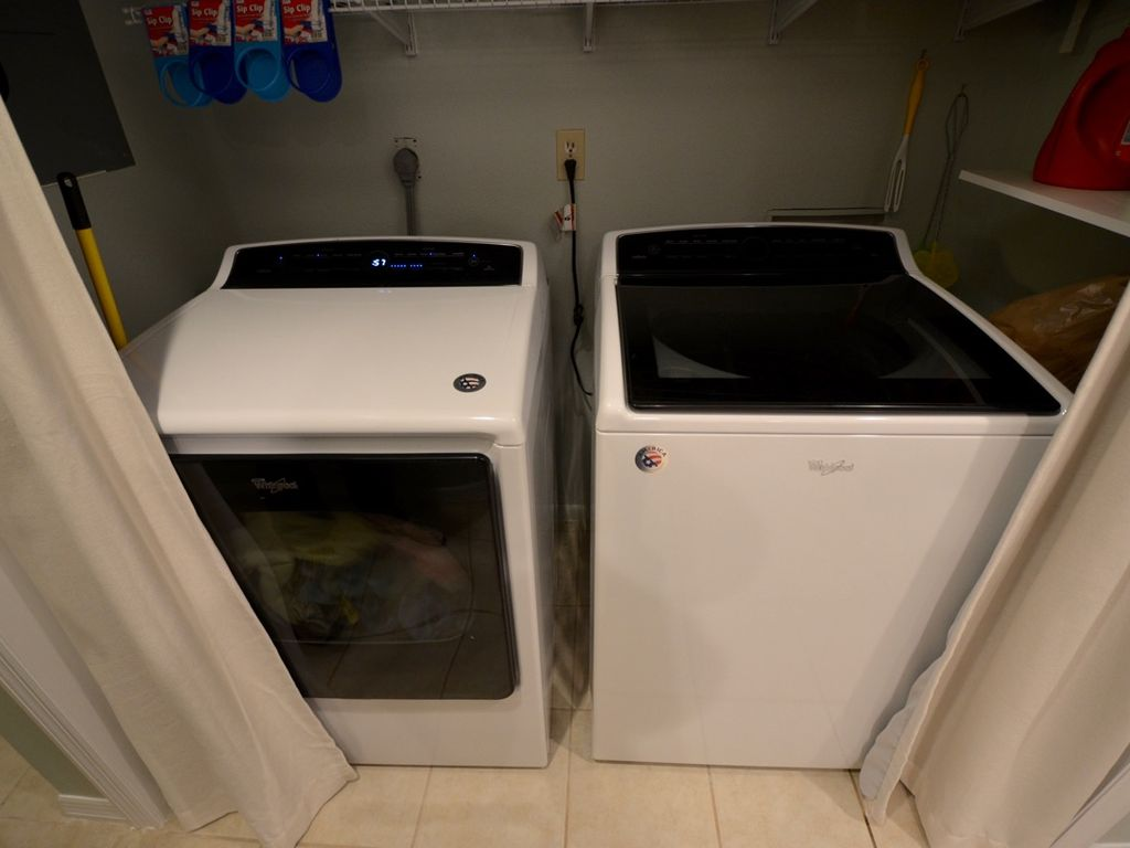 Super capacity washer/dryer fits all of our bedding, even the king quilts.