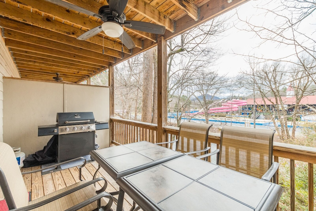 Gas Grill on main floor deck with outdoor dining area