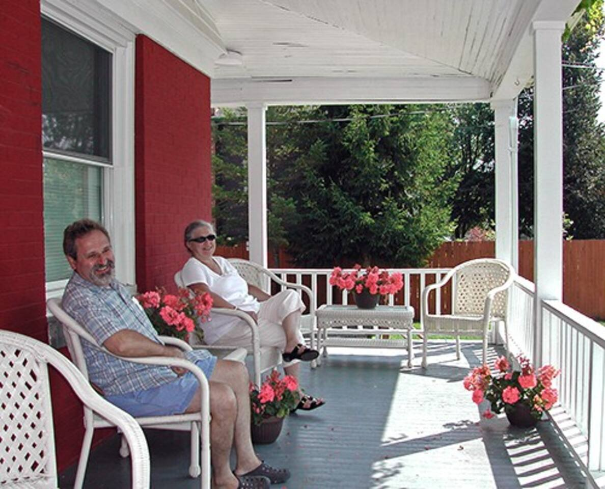 Front wrap around porch for enjoying your morning, coffee, watching the sunset, or chatting with fellow guests