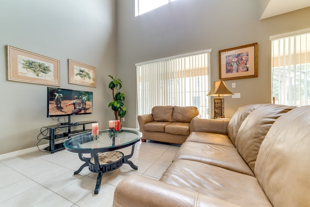 Open family room with large TV