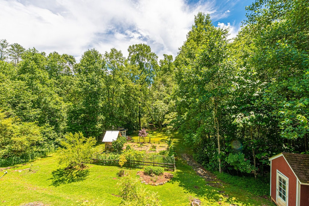Gardens and Creek view from deck