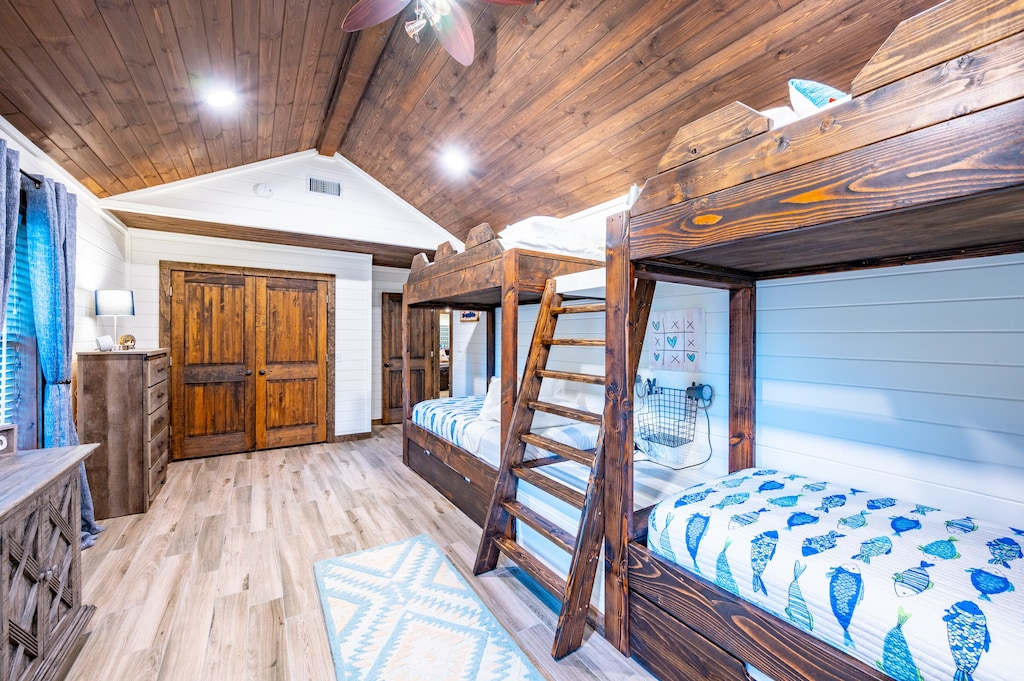 All of the bedrooms have closets and dressers to make yourself at home.
