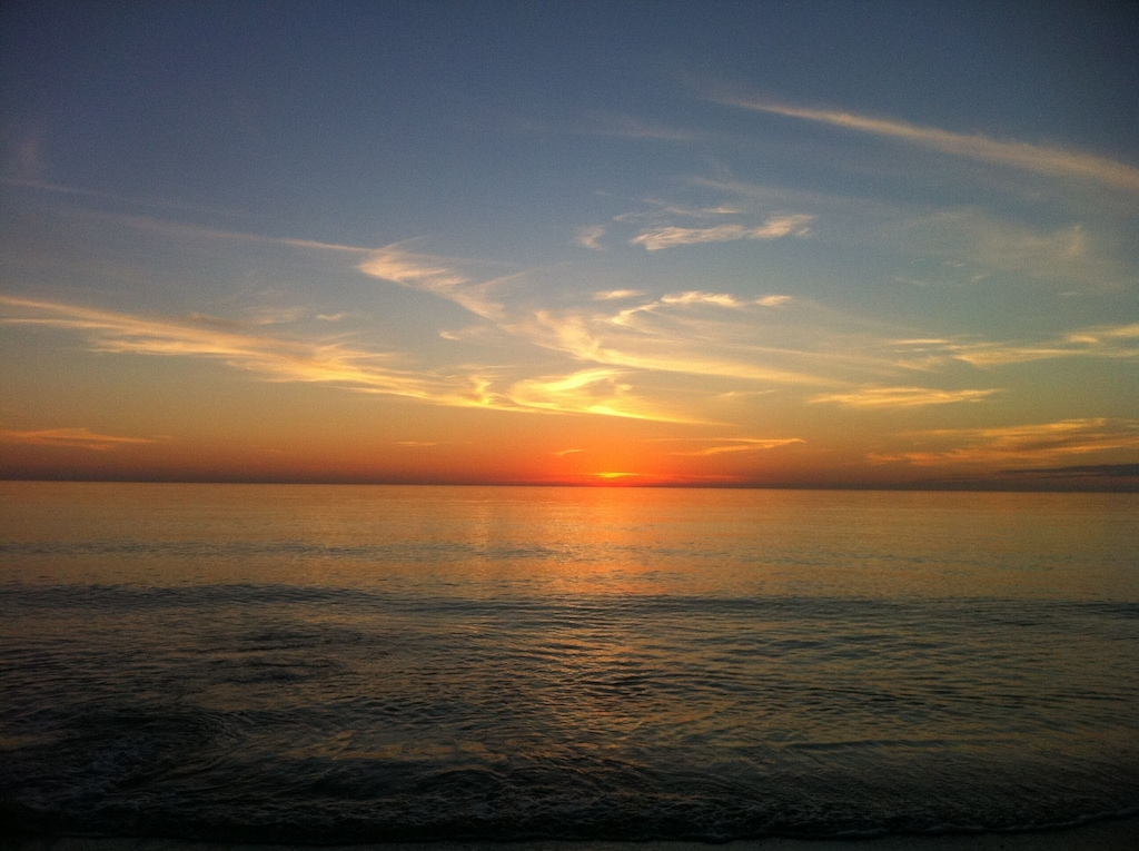 Magnificent sunset at our private beach!