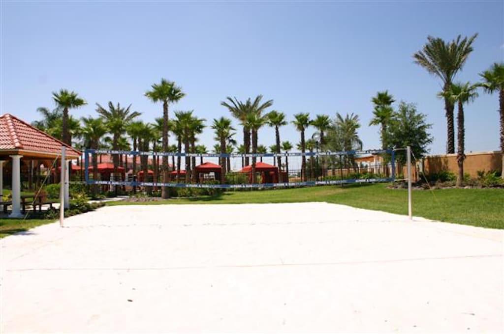 Beach volleyball court in the resort