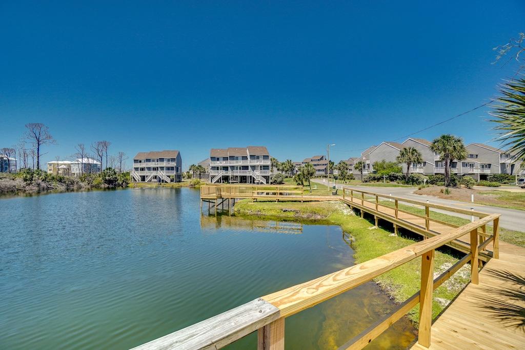 View from boardwalk around large pond