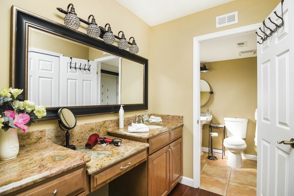 Large Dressing Area with Walk In Closet, Separate Space for Commode and Shower