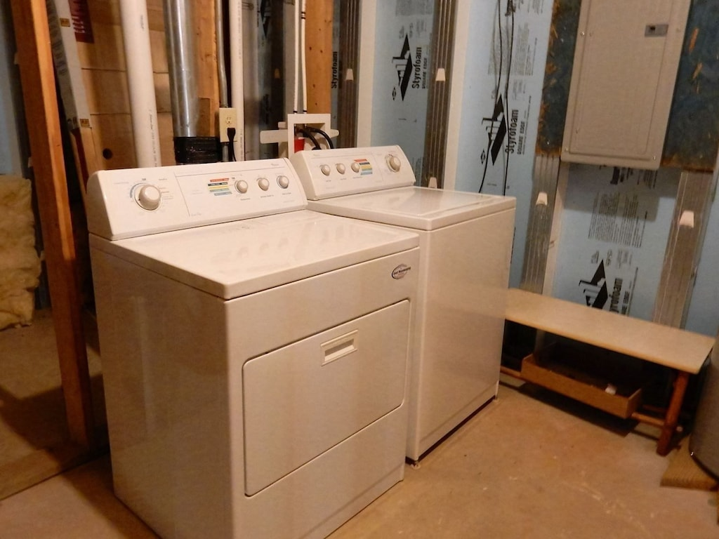 In the lower level is a full size washer and dryer.