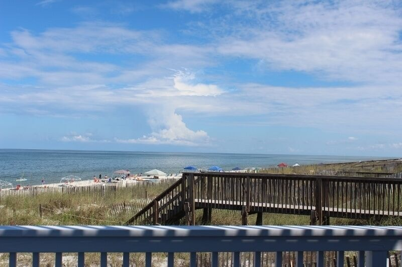 View of beach walkover from living room deck!
