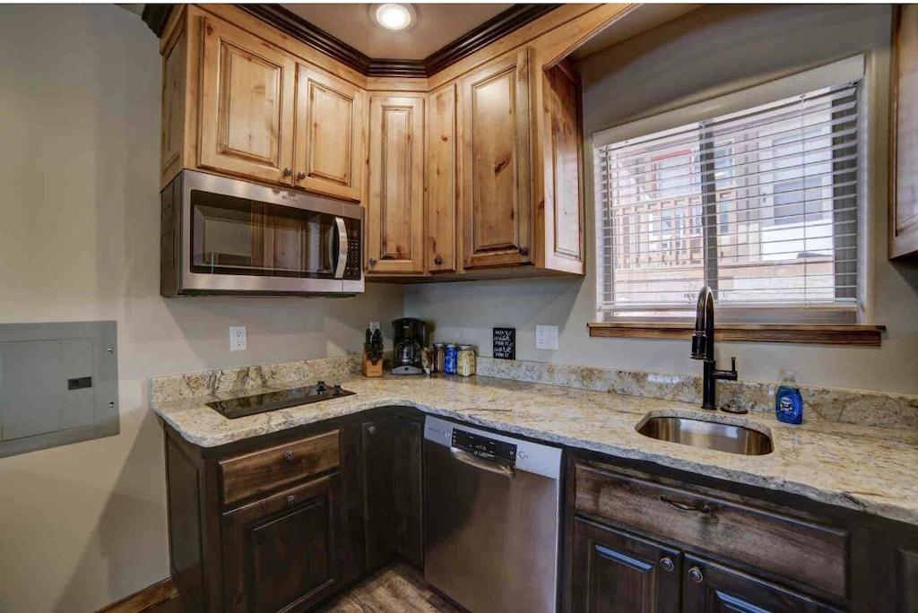 *Dishwasher *Microwave * 2 burner cooktop (no oven)