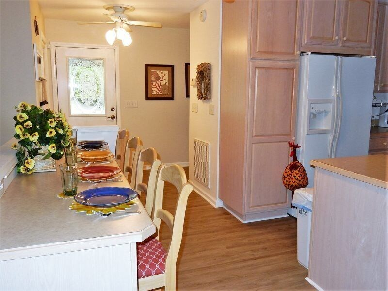 There is plenty of storage space in the kitchen.