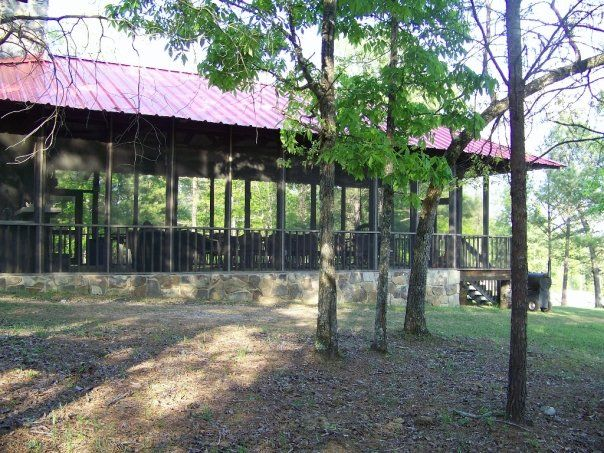Huge screened-in pavilion on lake