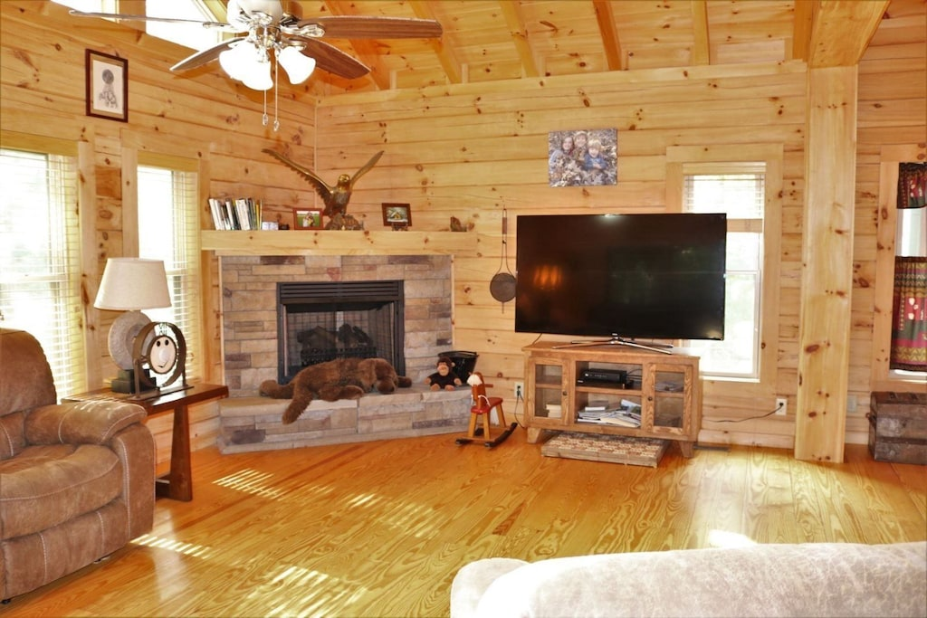 Gas log fireplace and Direct TV in the living room