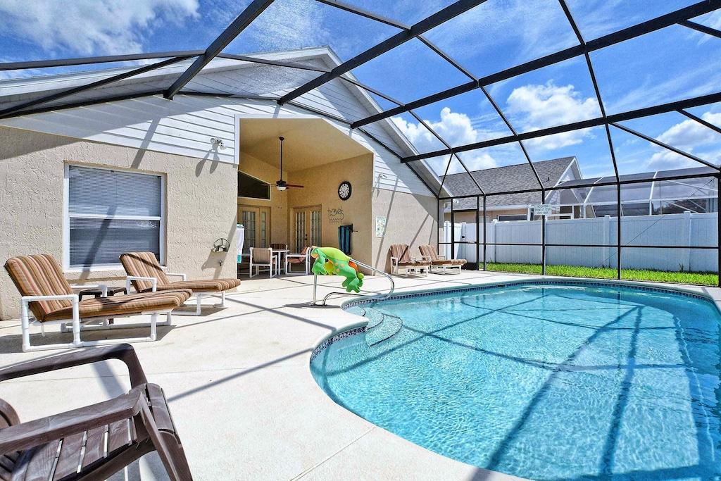Plenty of room around this oversized pool deck!