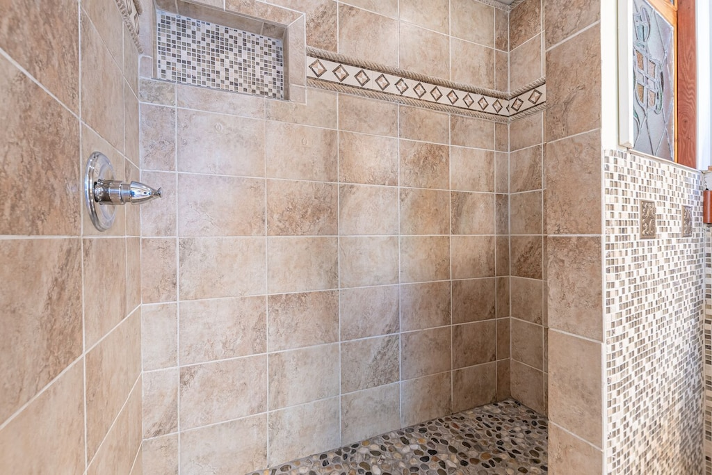 Walk In Shower with Stained Glass