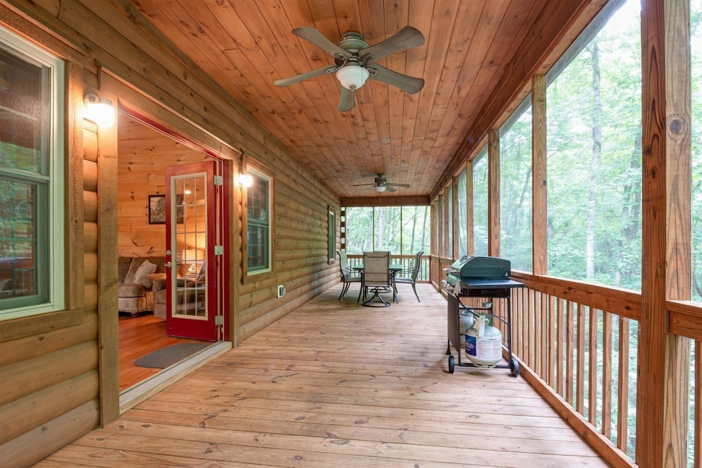 Screened porch overlooking the creek
