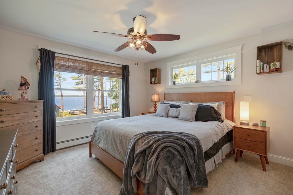 Master bedroom overlooking Sebago Lake