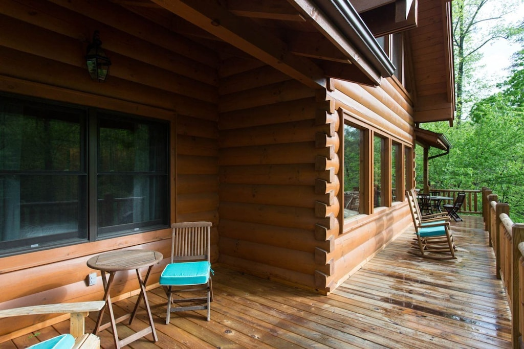 Out on the deck, sit in the shade of the overhang or in the sunlight.