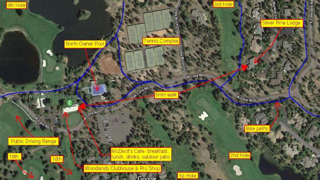 Close proximity map around Silver Pine Lodge.  Tennis/golf/cafe, just steps away