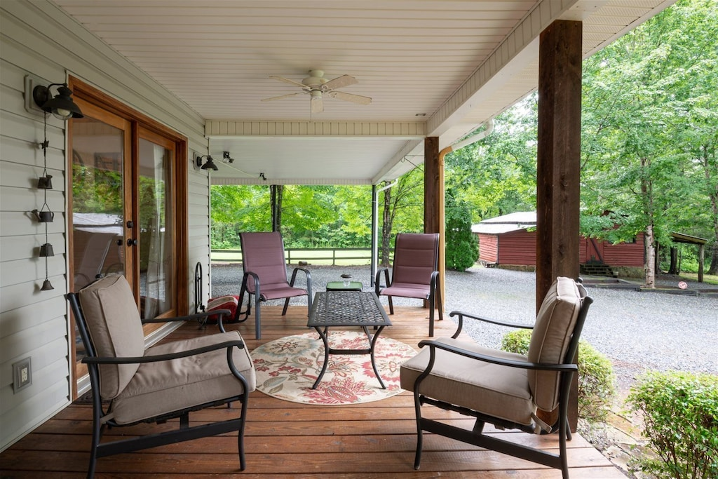 Seating on the side covered porch