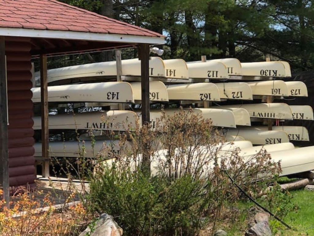 Lots of canoes to rent