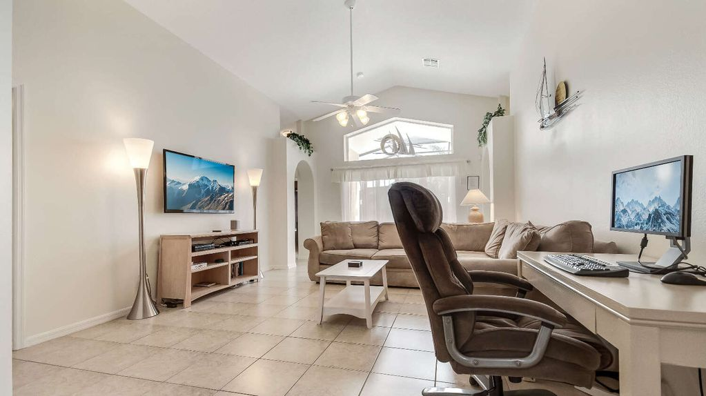 Large Living Room With Desk