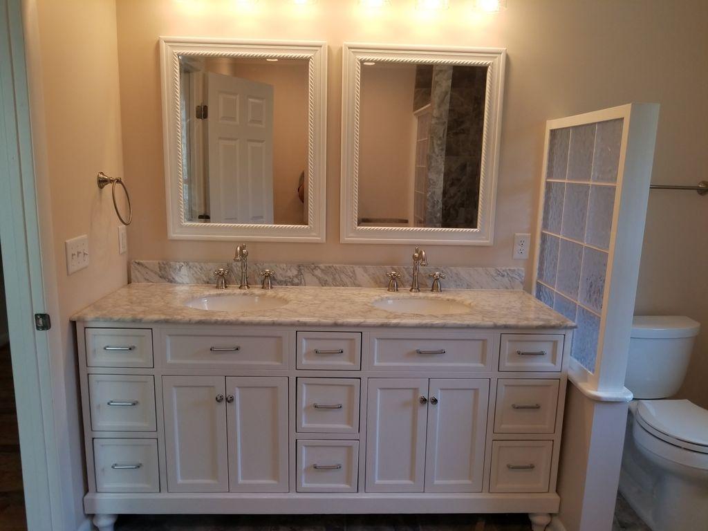New master bath double vanity