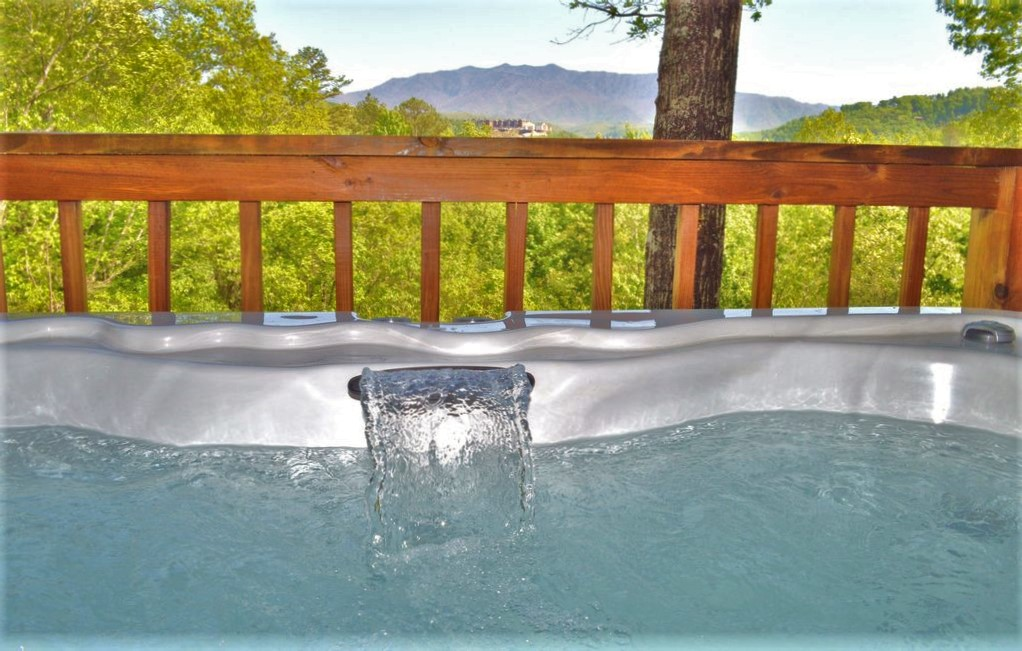 Waterfall/LED light hot tub features - summer