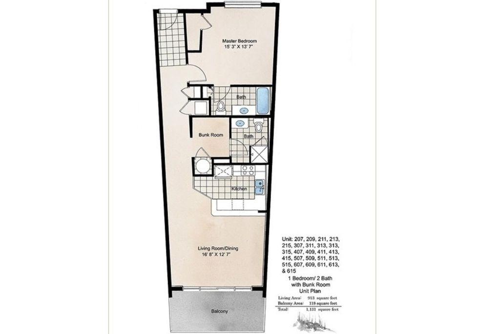 Destin West Gulfside #407 - Floor Plan