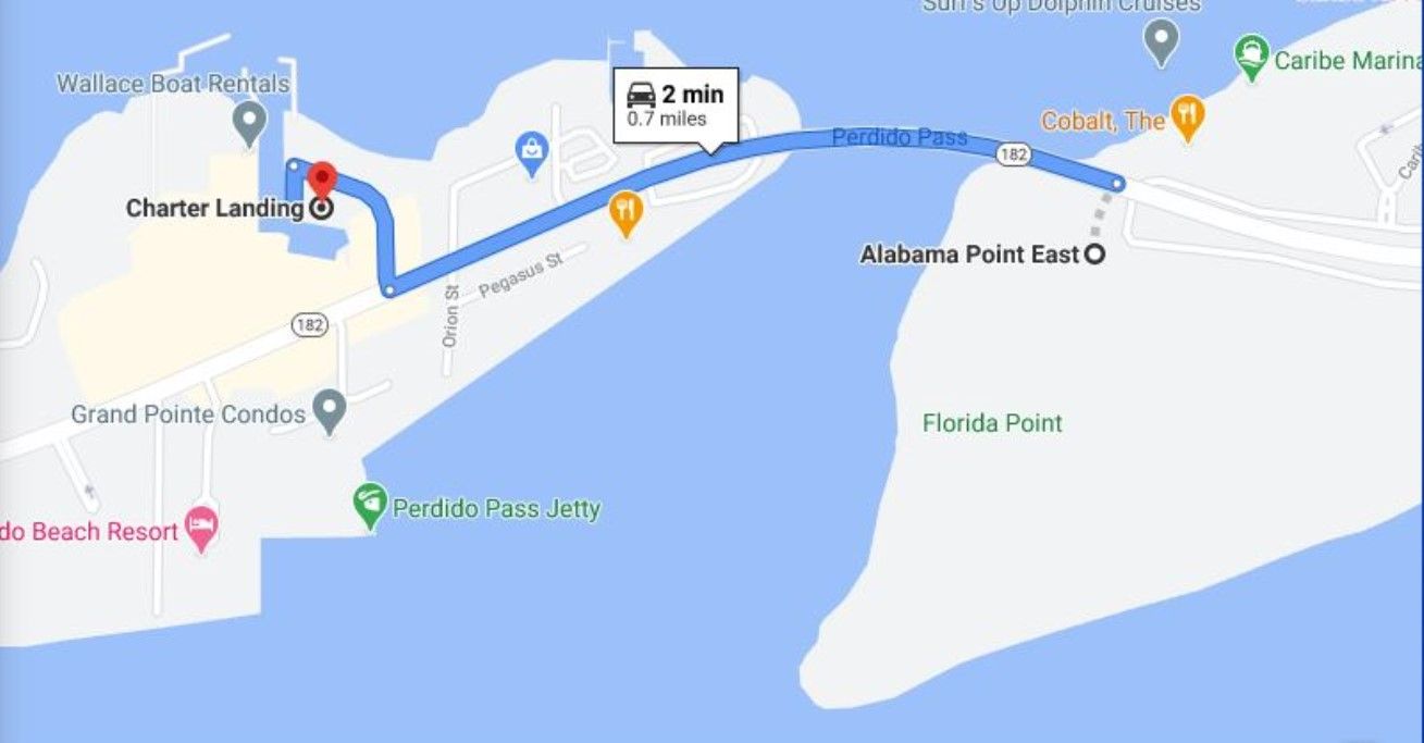 Map to Alabama Point East Public Beach Access