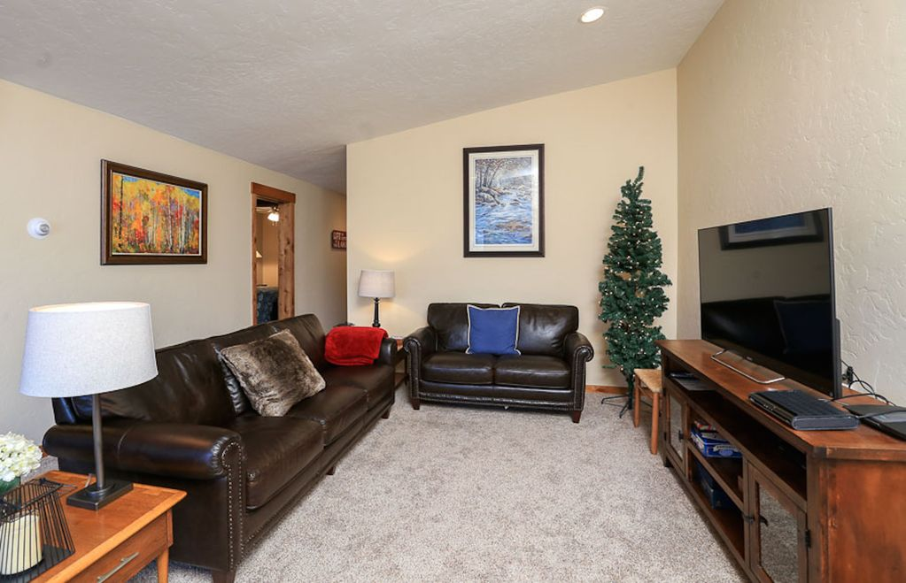 Large HD TV in living area & comfortable seating