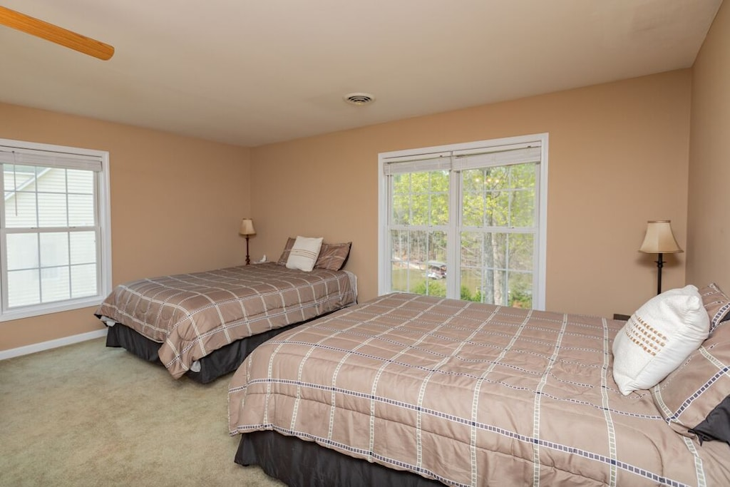2nd upstairs bedroom with 2 queen beds