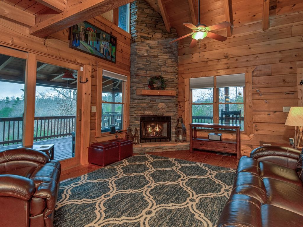 You can access the deck from two locations in the living room.