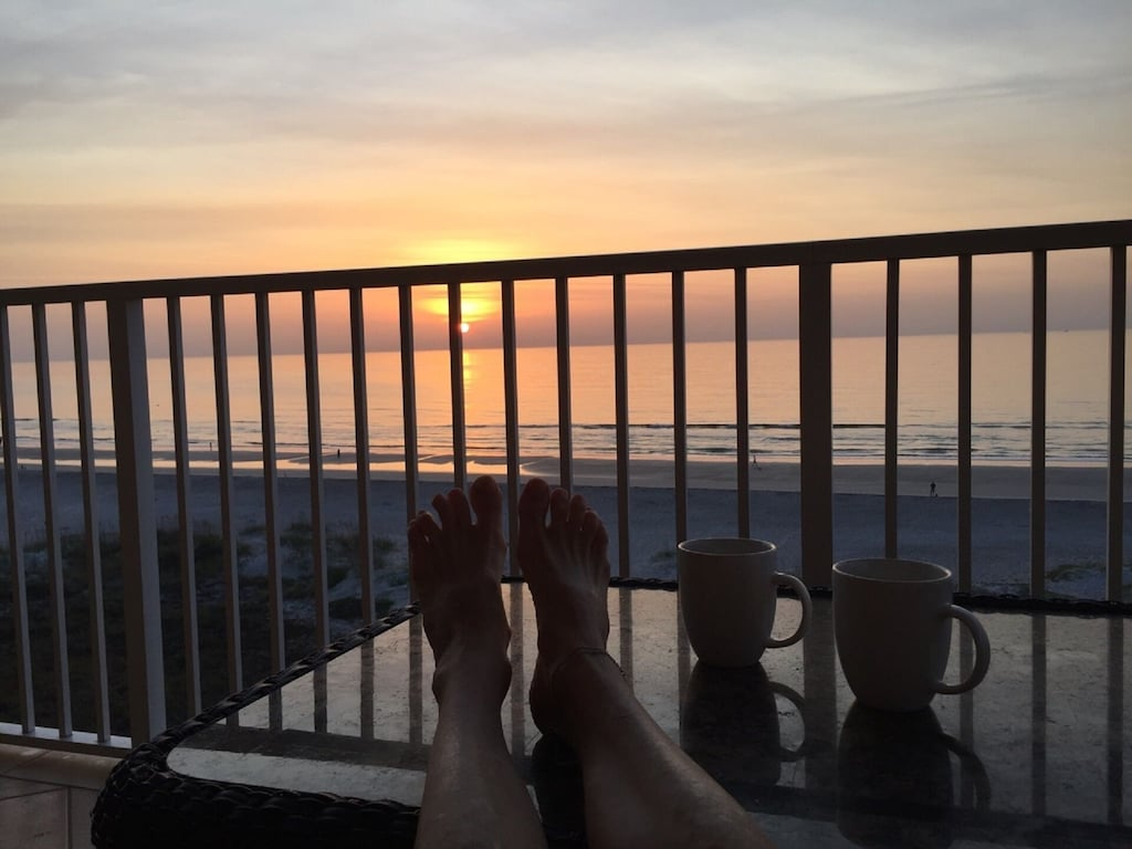 Put your feet up and relax with the sunrise!