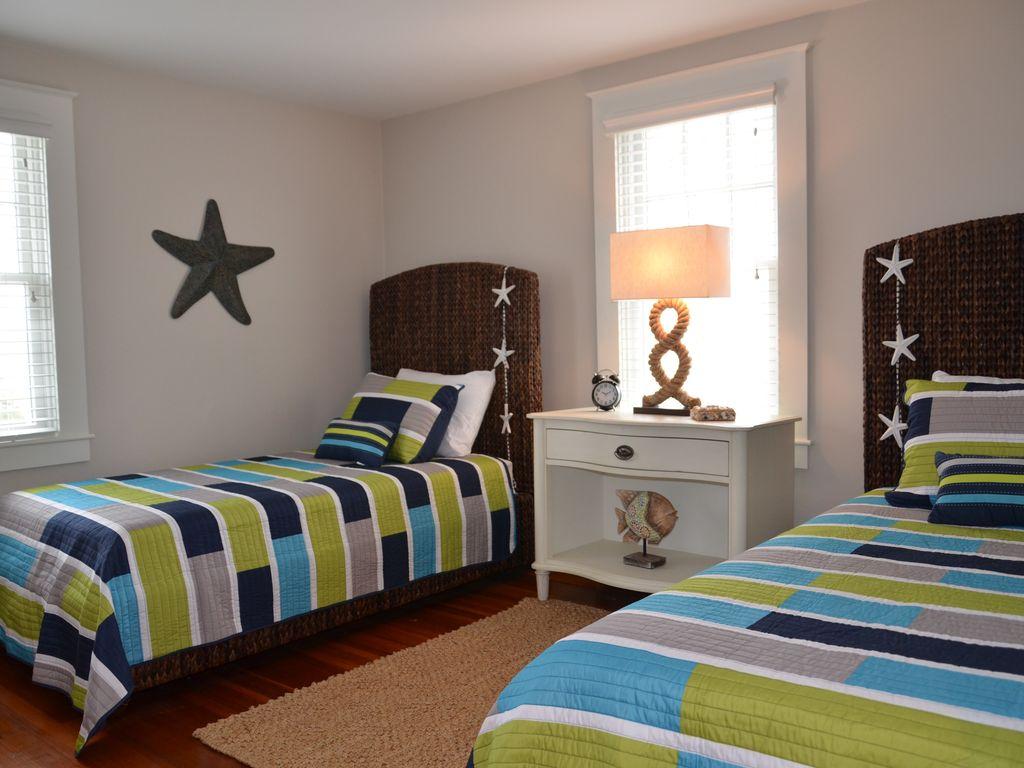 Bright and sunny coastal themed bedroom.