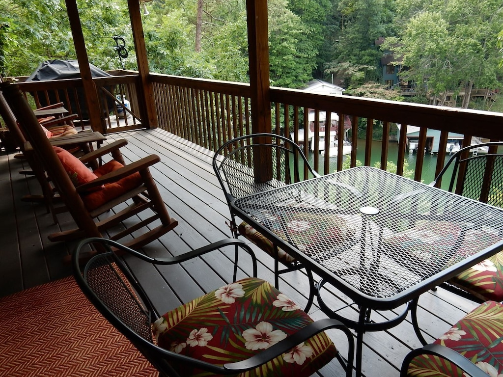 There is a gas grill for guest use. Just imagine rocking and looking out at this view.