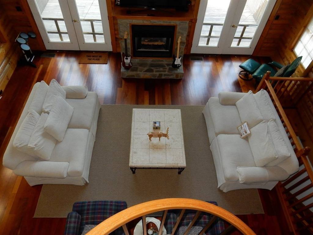 Overhead view of loveseats in the living room