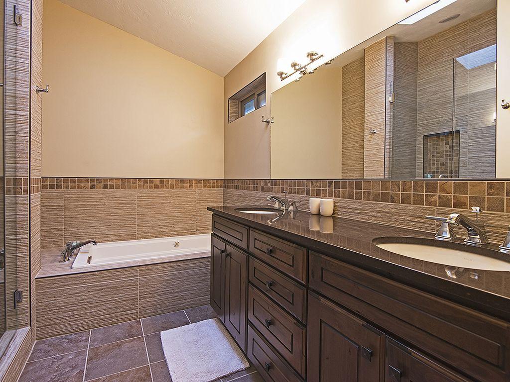 master bath.  Soaking tub.  European shower.  Double sinks