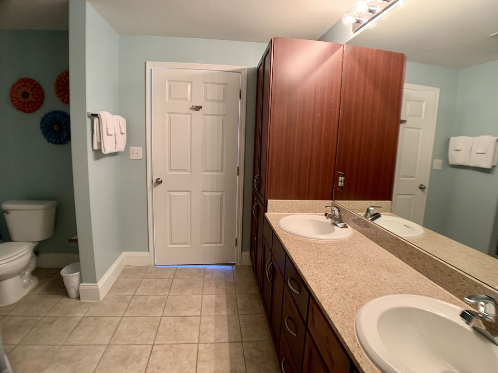 The master bath offers double sinks.