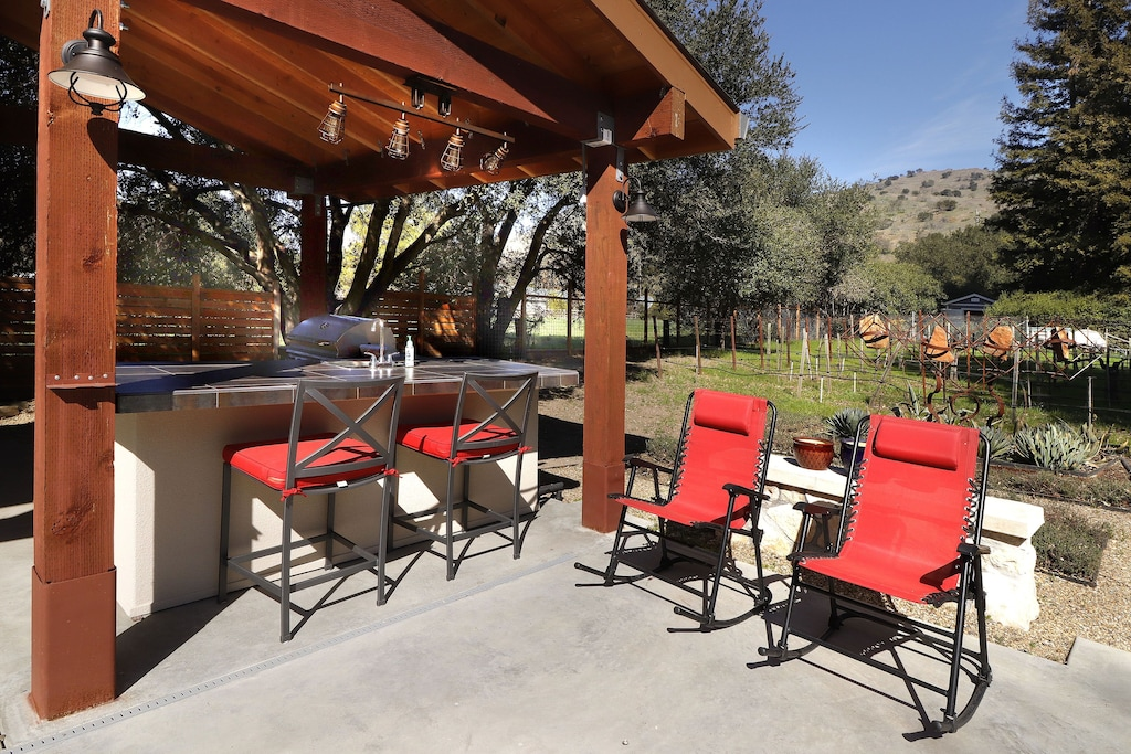 Outdoor kitchen seating.