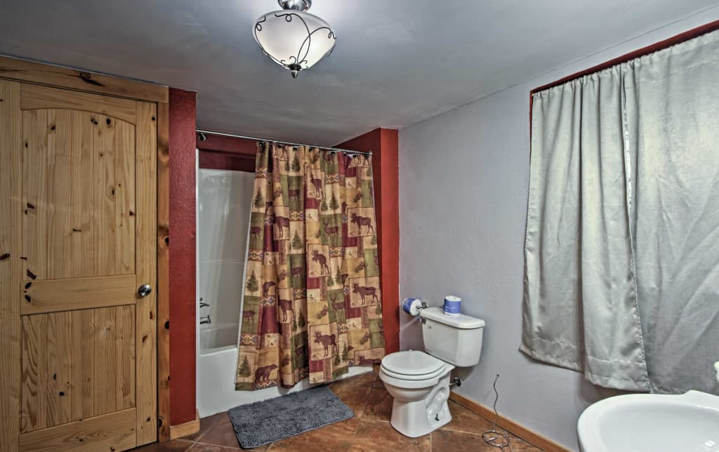 Lower level bathroom with laundry center (door to left)