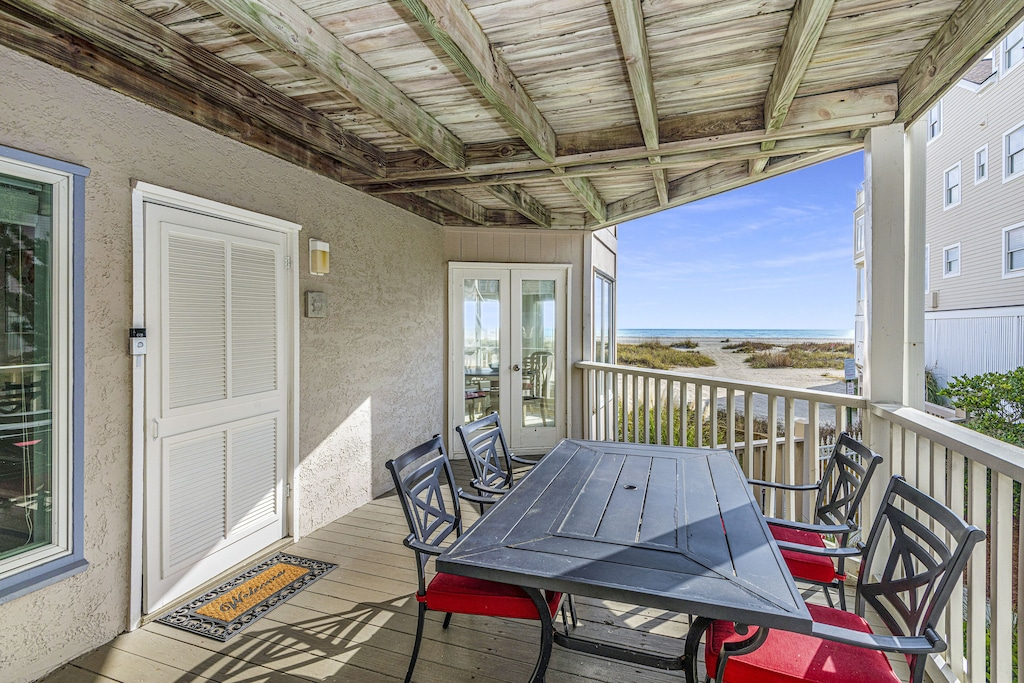 Front porch and entry with beachfront views