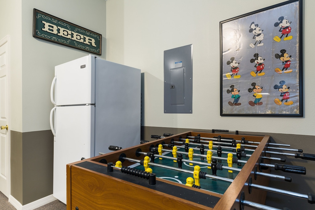 And also Foosball and a dedicated beverage fridge!