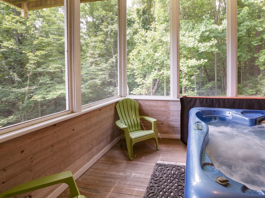 Surrounded by lush forests while in your hot tub