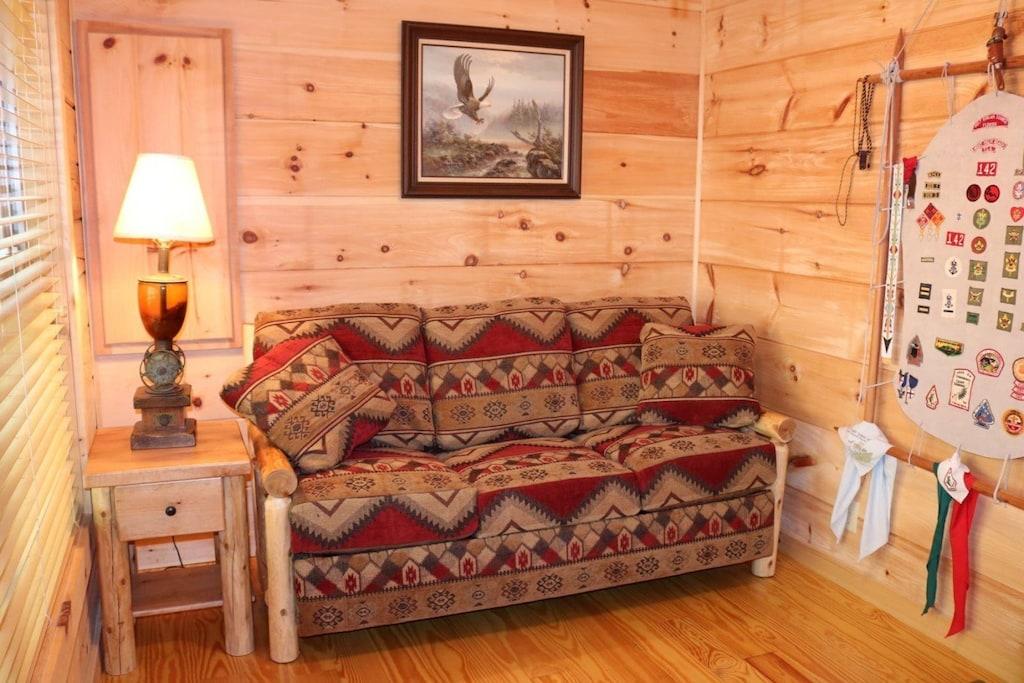 TV room with small sleeper sofa