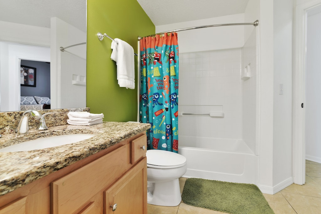 With tub/shower combo.