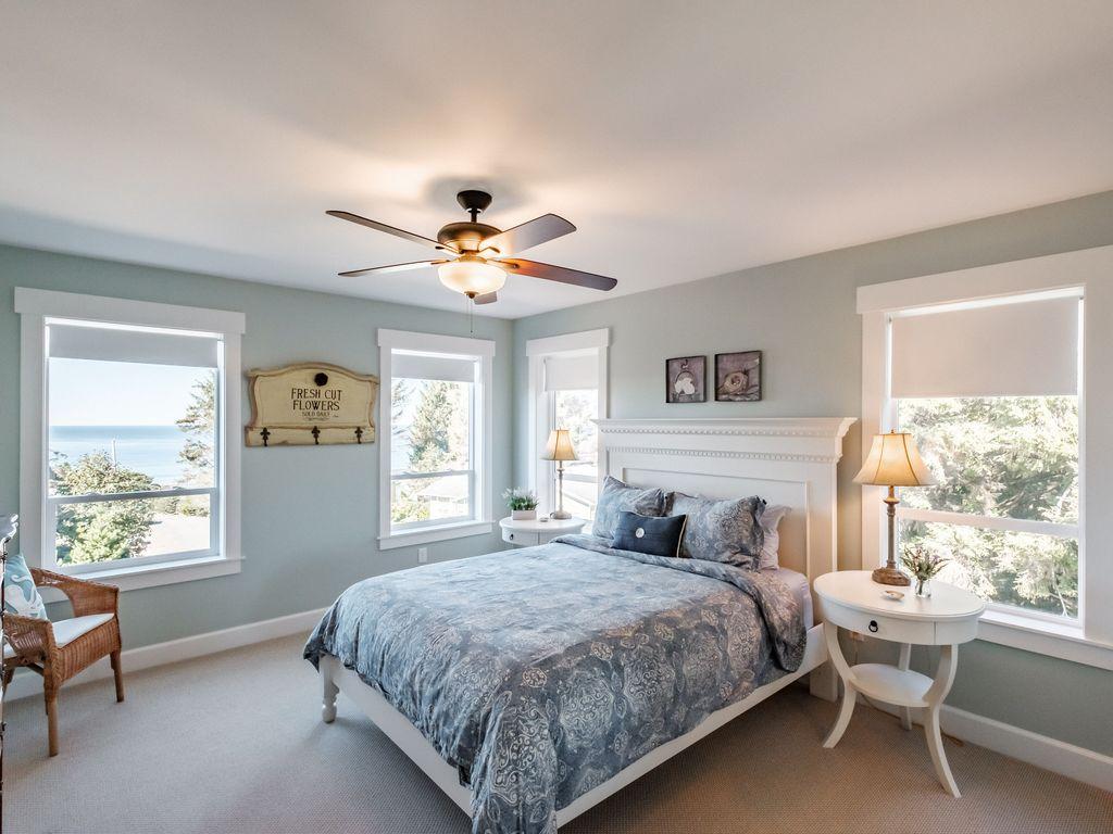 Oceanview queen bedroom is a perfect retreat space.