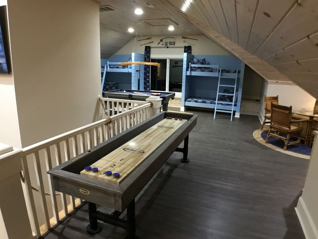 Large Shuffle Board Table, and Seating Area Table For Cards......