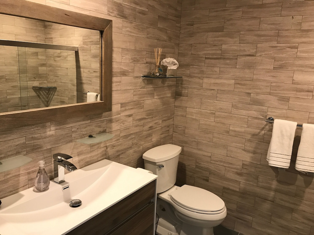 Hall bathroom has gorgeous tile work, soaking bath and shower with vanity closet