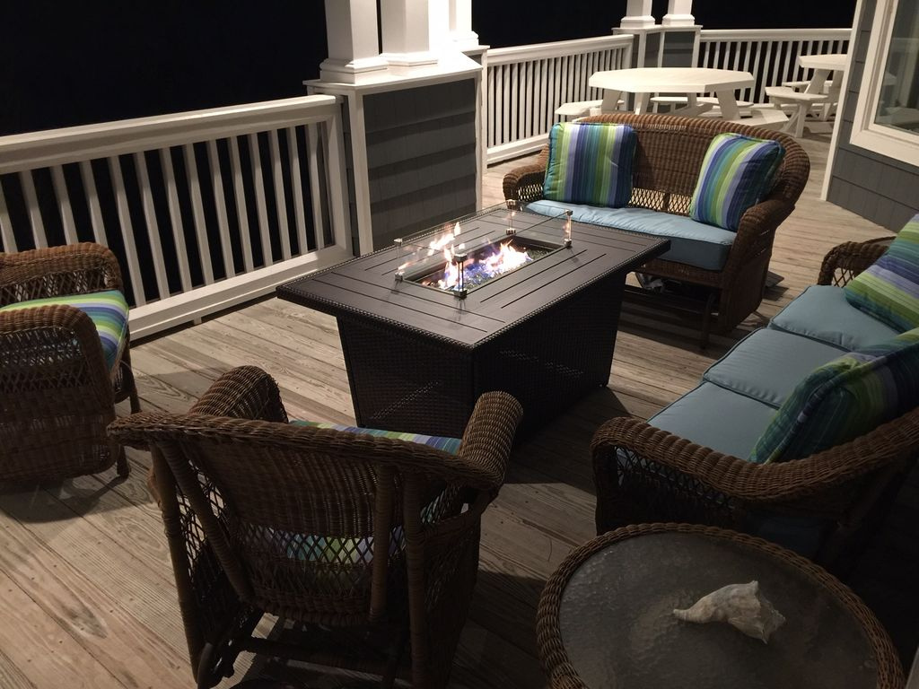 Gas Fire Pit on 1st Level Porch and Seating Area